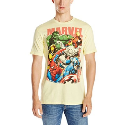 Marvel Team-Ups Men's Team Ups Group On T-Shirt, Pale Yellow, Small