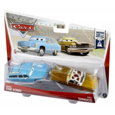 Disney/Pixar Cars Mrs. The King and Tex Dinoco Diecast Vehicle, 2-Pack