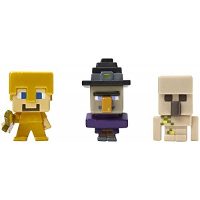 Minecraft Collectible Figures Witch, Steve in Gold Armor & Iron Golem 3-Pack, Series 1