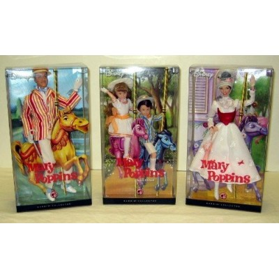 Walt Disney Mary Poppins Barbie Complete Set - Mary Poppins, Bert, Michael, Jane - Pink Label Collection
