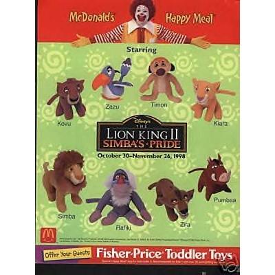 Disney's Lion King II Simba's Pride Plush 1998 Mcdonalds #8 SIMBA
