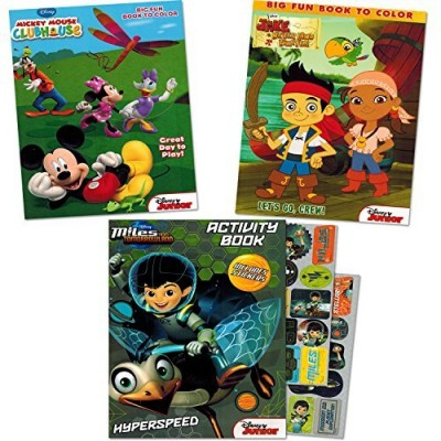Disney Junior Coloring Book Super Set with Stickers (3 Coloring Books -- Featuring Miles From Tomorrowland, Jake and the Neverland Pirates and Mick...