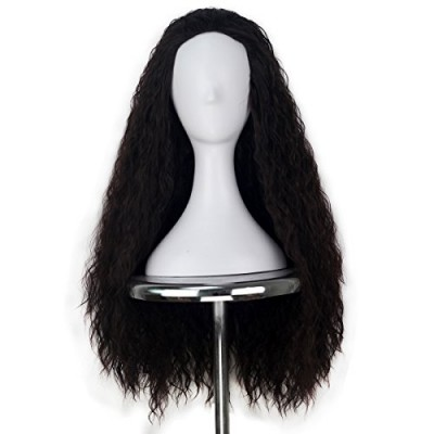 Women 80cm Long Curly Dark Brown Hair Halloween Cosplay Costume Wig for Girl 346