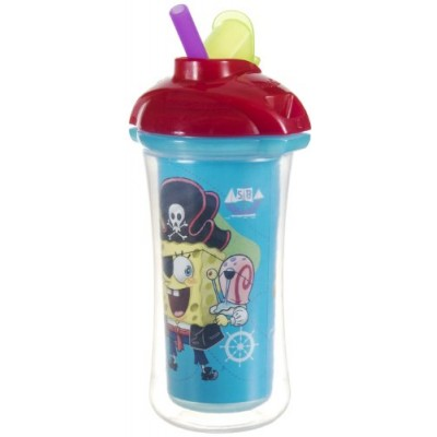 Munchkin SpongeBob SquarePants Click Lock Insulated Straw Cup, Colors May Vary, 9 Ounce