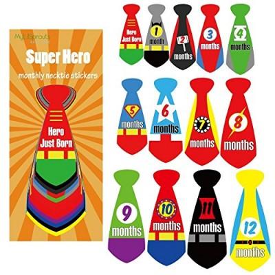Super Hero Monthly Necktie Milestone Baby Stickers Newborn 0-12 Month Plus Newborn