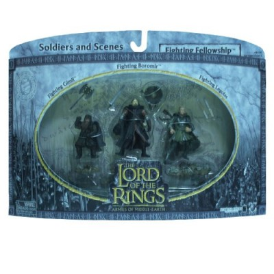 2004 - New Line / Play Along - Lord of the Rings : Armies of Middle Earth - Fighting Fellowship w/ Gimli / Boromir / Legolas - Soldiers & Scenes - ...
