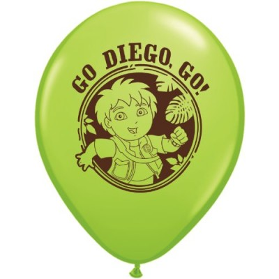 """Pioneer National Latex Go Diego Go 12"""" Latex Balloons, 6 Count"""