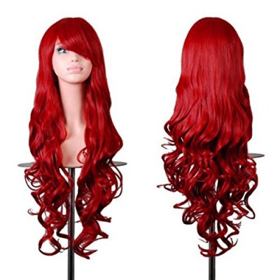 """Rbenxia Wigs 32"""" Women Wig Long Hair Heat Resistant Spiral Curly Cosplay Wig Red"""