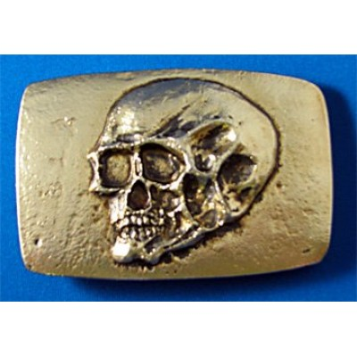 Tomb Raider Skull Belt Buckle, Solid Metal, Gold
