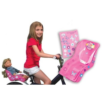 "Doll Bicycle Seat - ""Ride Along Dolly"" Bike Seat with Decorate Yourself Decals (Fits American Girl and Standard Sized Dolls and Stuffed Animals)"