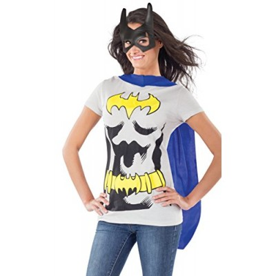 DC Comics Batgirl T-Shirt With Cape And Mask, Black, X-Large