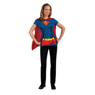 DC Comics Super-Girl T-Shirt With Cape, Blue, Small Costume