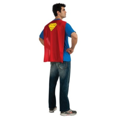 DC Comics Superman Costume T-Shirt With Cape, Blue, Medium
