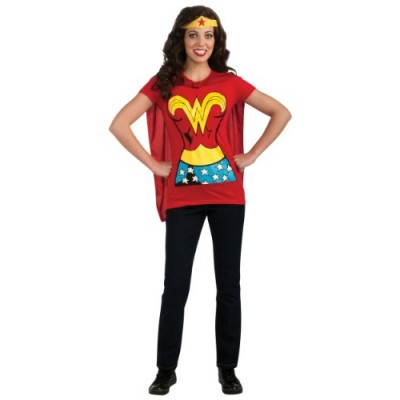 DC Comics Wonder Woman T-Shirt With Cape And Headband, Red, Small Costume