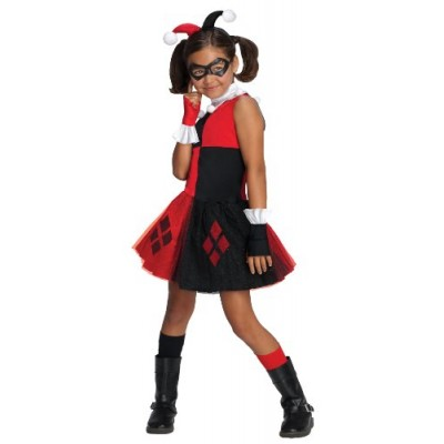 DC Super Villain Collection Harley Quinn Girl's Costume with Tutu Dress, Small