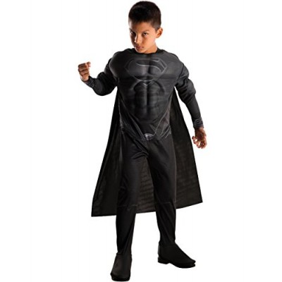 Rubies Man of Steel Deluxe Black Suit Muscle Chest Child's Superman Costume, Large