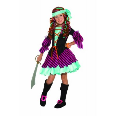 Salty Taffy Girl's Pirate Costume, Large