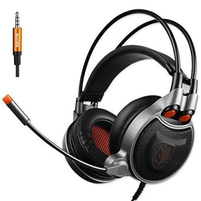 GT SADES SA929 3.5mm Gaming Headset with USB vitural 7.1 Channel Audio Conversion Line, Over Ear Headphones with Mic Noise Canceling and volume con...