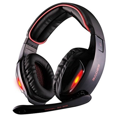 Sades SA902B 7.1 Channel Virtual USB Surround Stereo Wired PC Gaming Headset Over Ear Headphones with Mic Revolution Volume Control Noise Canceling...