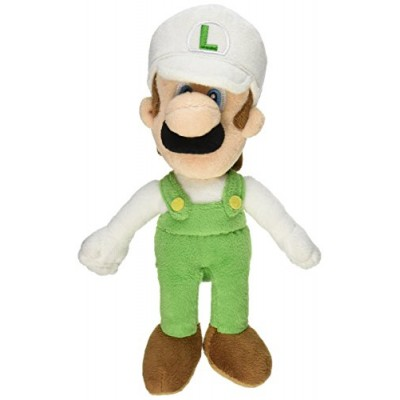 "Sanei Officially Licensed Super Mario Plush 9"" Fire Luigi Japanese Import"