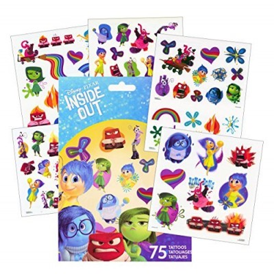 Disney Inside Out Tattoos - 75 Assorted Temporary Tattoos ~ Rainbow Unicorn, Anger, Joy, Bing Bong, , Disgust, Fear, and More!
