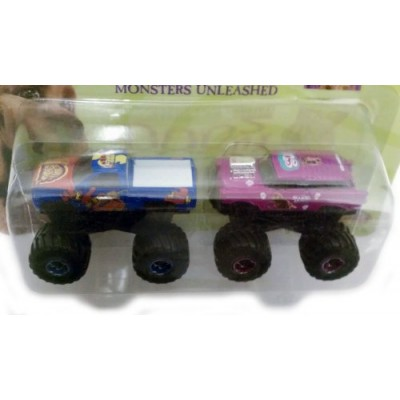 SCOOBY DOO 2 MONSTERS UNLEASHED Monster Truck 2 Car Set Blue / Purple ~ 1:64 scale Die-cast metal ~ Joyride 2004