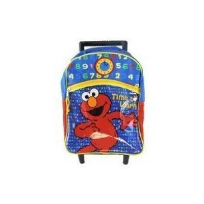 Sesame Street Elmo Rolling Backpack - Elmo Kid Size Wheeled Backpack (Time To Learn)