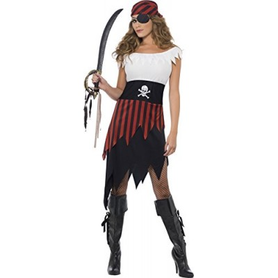 Smiffy's Women's Pirate Wench Costume with Dress and Headpiece, Multi, Large