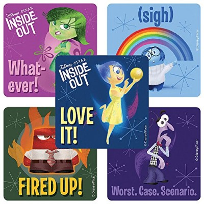 Disney Pixar Inside Out Movie stickers - Birthday Party Supplies & Favors - 75 per Pack