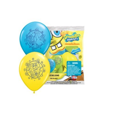 "Pioneer National Latex Sponge Bob Square Pants 12"" Latex Balloons, 6 Count"