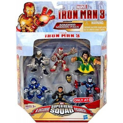 Super Hero Squad, Iron Man 3 Exclusive Figure Set, (Iron Man Mark 42, Ghost Armor, Deep Depth, Rapid Deploy, Iron Patriot & Mandarin), 6-pack by Sp...