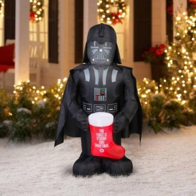 Disney Star Wars Darth Vader Holding Stocking 5 Foot Christmas Airblown Inflatable