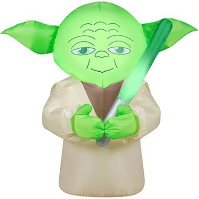Star Wars Big Head Yoda Lighted Holiday Yard Airblown Self Inflatable 4.5 Foot