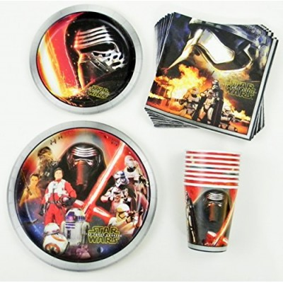 Star Wars Birthday Party Supplies Pack - Lunch Plates, Dessert Plates, Napkins, Cups