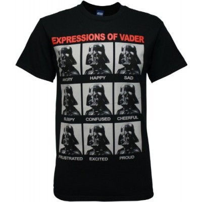 Star Wars Darth Vader Expressions Men's Black T-shirt Small