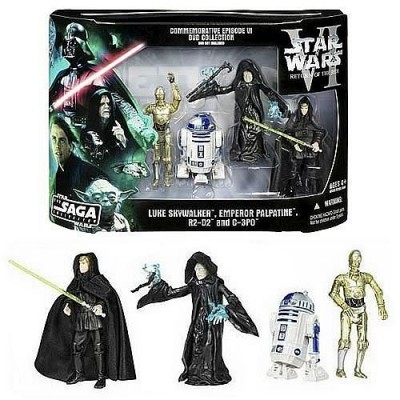 Star Wars DVD Commemorative Action Figure Pack Episode VI (6) Return of the Jedi w/ Luke, C-3PO, R2-D2 & Emperor. RARE