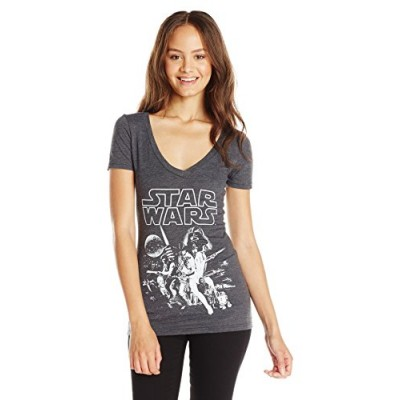 Star Wars Junior's Classic Poster Graphic V-Neck Tee, Charcoal Heather, Medium