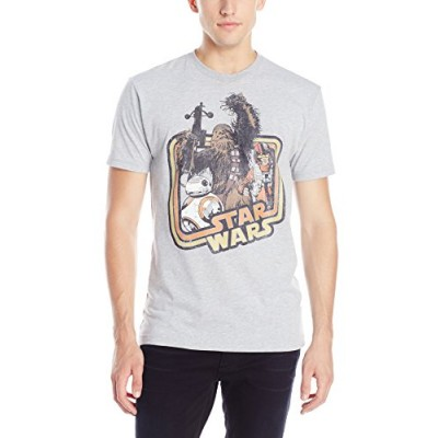 Star Wars Men's The Force Awakens BB-8 Chewie Rey Good Guys Celebration T-Shirt,Athletic Heather,Small