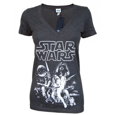 Star Wars Poster V-Neck Ladies Juniors T-shirt - Charcoal Heather (Medium)