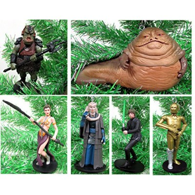 Star Wars RETURN OF THE JEDI 6 Piece Ornament Set Featuring Princess Leia, Luke Skywalker, C-3PO, Jabba the Hut and More