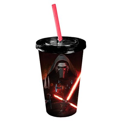 Star Wars Silver Buffalo SE0487 Disney Episode 7 Kylo Ren Poster Cold Cup with Lid and Straw, 16 oz, Multicolor