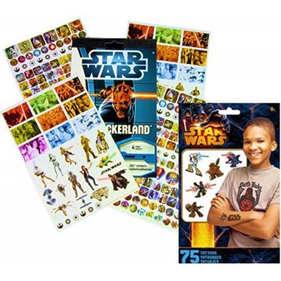 Star Wars Stickers & Tattoos Party Favor Pack (275 Stickers & 75 Temporary Tattoos)