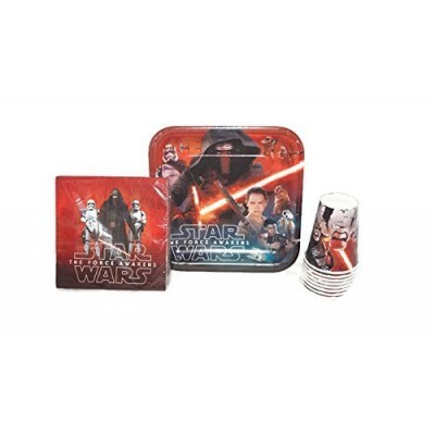 Star Wars The Force Awakens Birthday Party Supplies Pack - Star Wars Lunch Plates, Star Wars Napkins, Star Wars Cups. Star Wars Episode VII Party S...