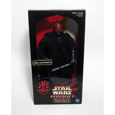 """Star Wars Year 1998 Episode 1 Movie Series """"The Phantom Menace"""" 12 Inch Tall Action Figure - DARTH MAUL with Cloak and Red Double Bladed Lightsaber"""