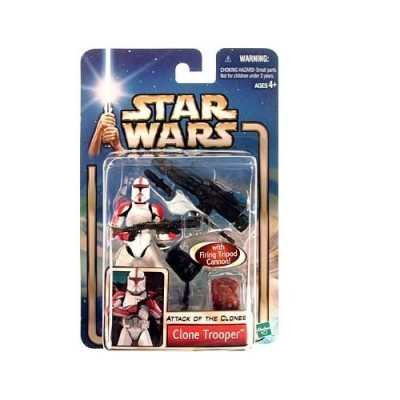 "Star Wars Year 2002 Collection 1 ""Attack of the Clones"" 4 Inch Tall Action Figure #17 - Red Striped Clone Trooper with Blaster Rifle and Firing Tri..."