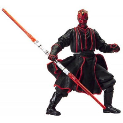 """Star Wars Year 2002 Episode 1 """"The Phantom Menace"""" Series 4 Inch Tall Action Figure - DARTH MAUL at Sith Training with Lightsaber Battle Action, Do..."""