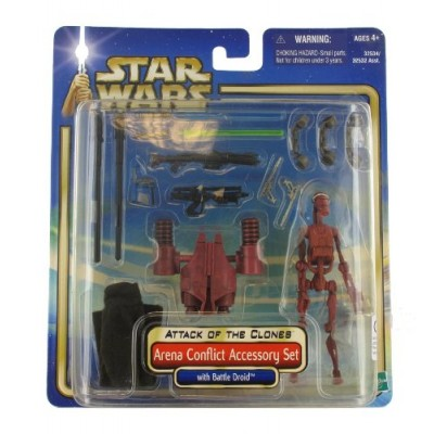 "Star Wars Year 2002 Movie Series Episode 2 ""Attack of the Clones"" Action Figure Accessory Set - Arena Conflict Accessory Set with Battle Droid, Jed..."
