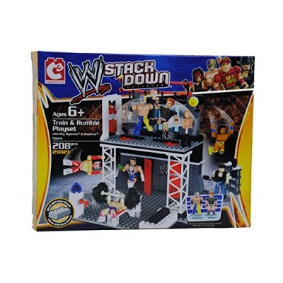 The Bridge Direct WWE StackDown Train & Rumble WWE Playset with Rey Mysterio & Sheamus Figures