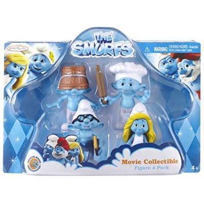 Smurfs Movie Clumsy, Baker, Smurfette & Brainy Collectibles Figure (4 Pack)