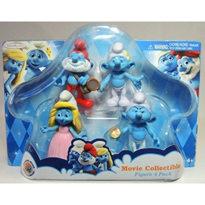 Smurfs Movie Papa, Grouchy, Smurfette & Vanity Collectibles Figure (4 Pack)